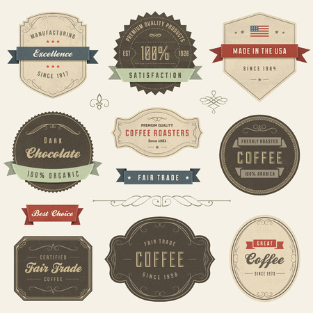 coffee set: Collection of vector vintage labels. Slightly textured. Illustration