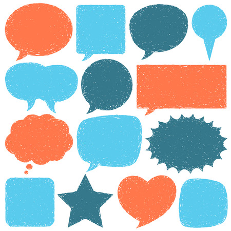 Collection of hand drawn vector speech bubbles.