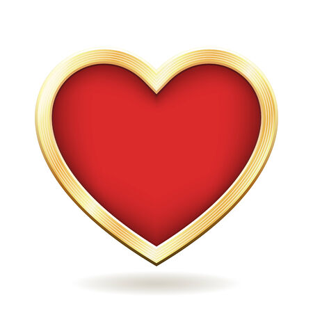 Red heart with a golden frame. File format is EPS8.