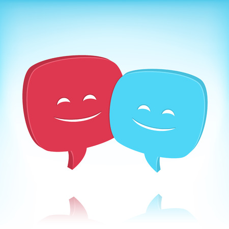 conversing: Two speech bubbles with smiling faces. No transparency effects. Gradient mesh used in the background. Illustration
