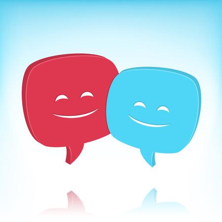 converse: Zwei Sprechblasen mit l�chelnden Gesichtern. Keine Transparenz-Effekte. Verlaufsgitter im Hintergrund verwendet. Illustration