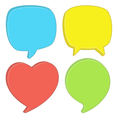 Four speech bubbles in different colors.
