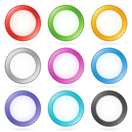 Circular vector buttons with bright centre. Ilustração
