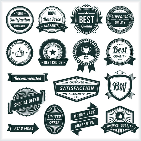 Large collection of black and white vintage vector labels.