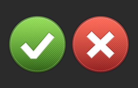 negar: Aprobar y negar los botones del vector. Formato de archivo es EPS10. Vectores