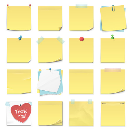 yellow note: Set of sixteen different sticky notes in vector format.