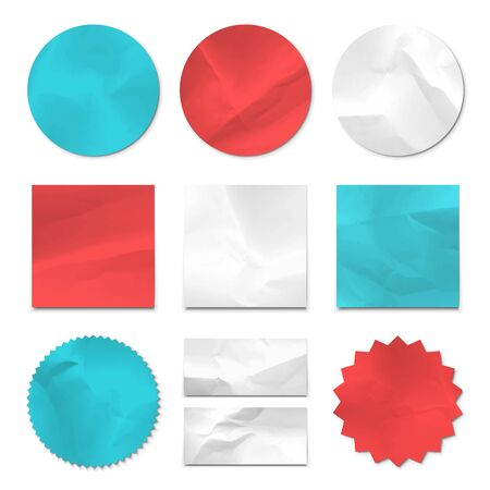 wrinkle: Collection of crumpled pieces of paper. Vector format.