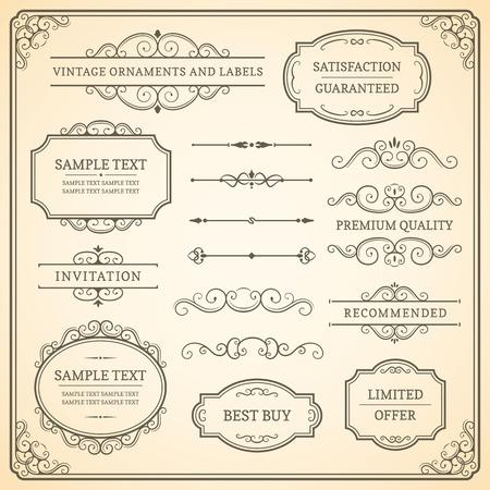 corner border: Set of vintage ornaments and labels on a beige background. Illustration