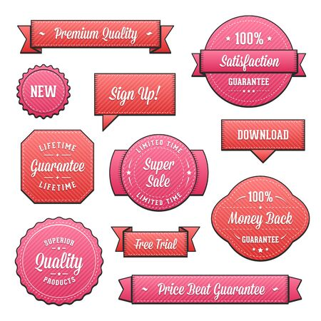 Collection of red and purple vector labels and ribbons.