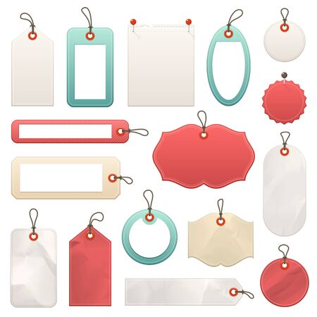 Collection of different vector tags with strings. Ilustração