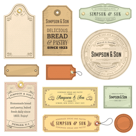 Collection of vintage labels. File format is EPS10. Vettoriali