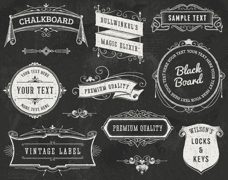 Chalkboard vintage ornaments, ribbons and labels. All text can be removed without leaving gaps.