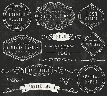 to twirl: Chalkboard design elements. Only solid fills used.