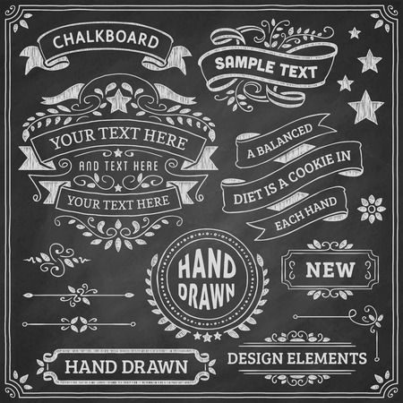 chalk frame: Chalkboard ornaments and ribbons. Vector format. Illustration