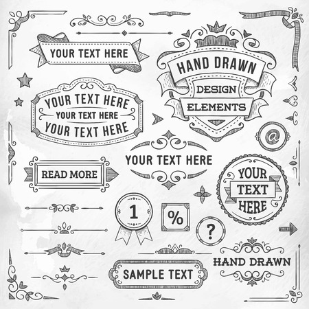 Collection of hand drawn vector design elements.
