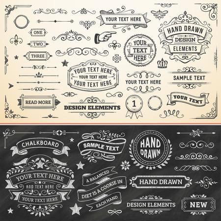 vintage: 大集手工繪製的設計元素。矢量格式。