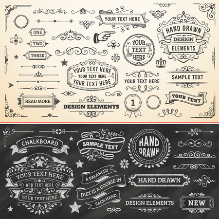 Large set of hand drawn design elements. Vector format.