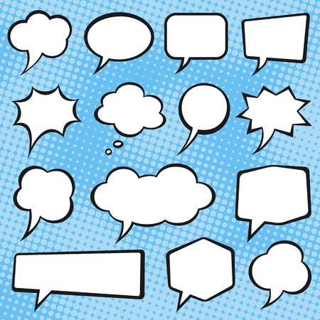 Comic book vector speech bubbles on a blue halftone background. Иллюстрация