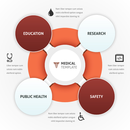 stetoscope: Healthcare vector template with icons and copy space.