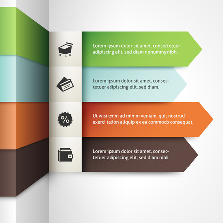 Infographic template with four stripes in different colors.
