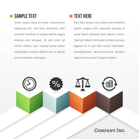 Vector business template with four cubes and icons.