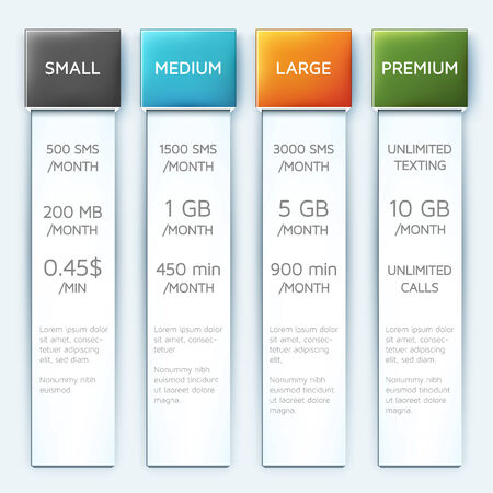 Set of four vertical vector banners in different colors.