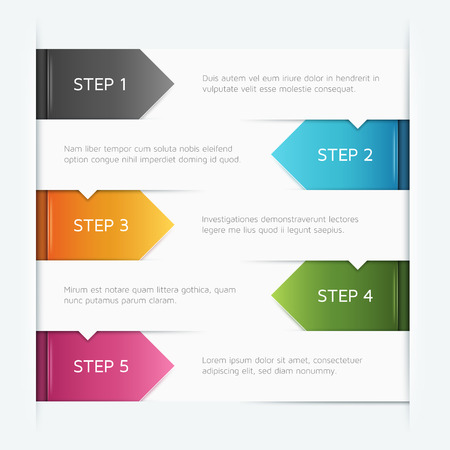 Vector template with arrows pointing downards in five steps. Ilustração