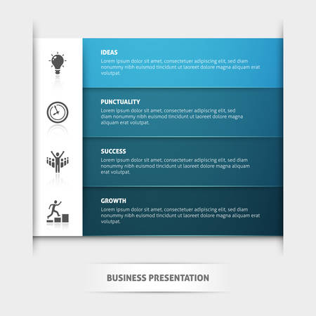 Business presentation vector template with four horizontal blue stripes and icons.
