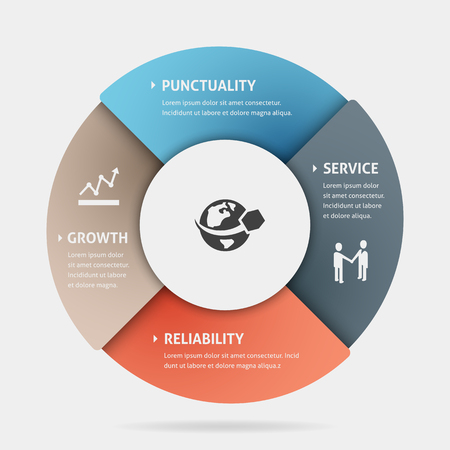coherence: Pie chart business template with four parts of the same size. Illustration