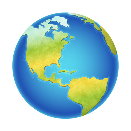 Vector illustration of earth isolated on white, with the western hemisphere visible. Çizim