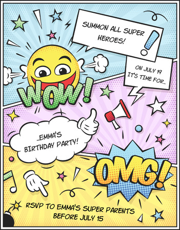 text book: Colorful comic book birthday invitation template. Just add your own text!