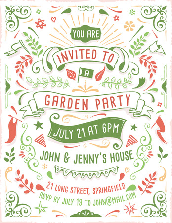 Hand drawn summer party invitation template with ribbons, flowers and ornaments. Just add your own text.