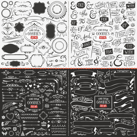 sketch: Very large collection of hand drawn vector design elements such as corners, ribbons, banners, swirls, catchwords, ampersands and flags. Illustration