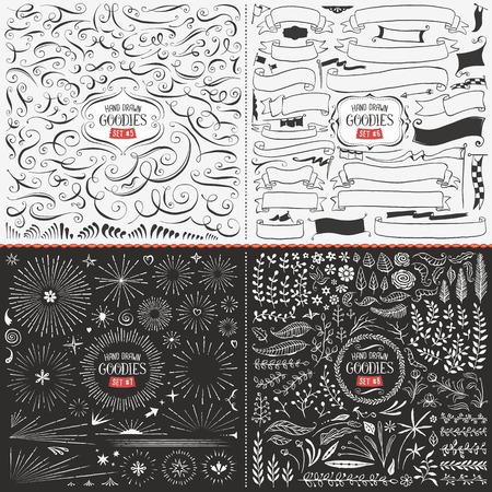 이러한 소용돌이, 리본, 깃발, 버스트, 꽃과 잎으로 손으로 그린 벡터 디자인 요소의 매우 큰 컬렉션입니다.