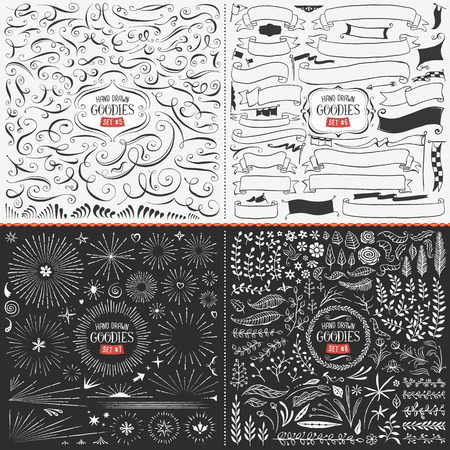 Very large collection of hand drawn vector design elements such as swirls, ribbons, flags, bursts, flowers and leaves.