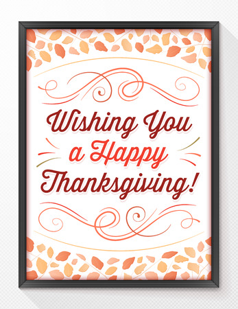 Vector thanksgiving greeting card with autumn leaves and ornaments. Иллюстрация