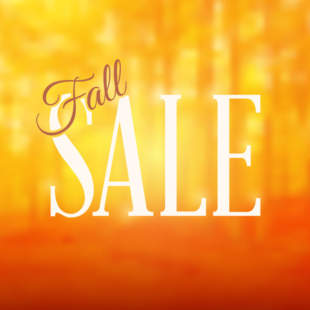 Square shaped fall sale sign with text on a blurred orange forest background. Blending modes used.   Color mode is RGB. Rasterized version converts to CMYK with no color change.
