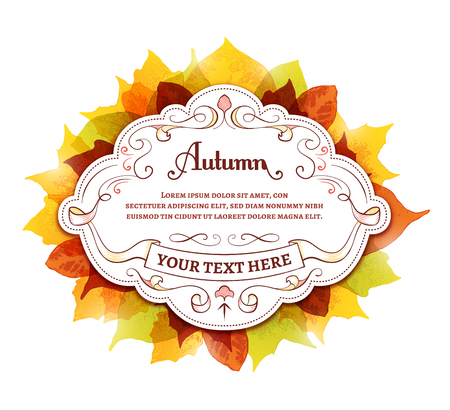 Label with colorful autumn leaves around it. Ilustração