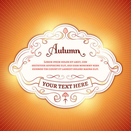 Vector autumn background with a white label and orange light rays.