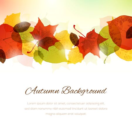 Vector background with autumn leaves. Copy space at the bottom.