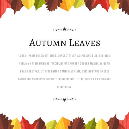 White blank background with autumn leaves at the top and bottom.