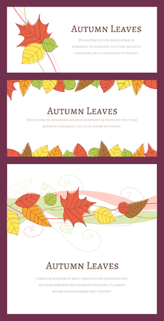 Three different autumn backgrounds with hand drawn autumn leaves. Çizim