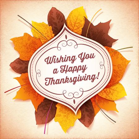 accion de gracias: Tarjeta de felicitación de la acción de gracias con una etiqueta blanca en frente de un círculo de hojas de colores de otoño.