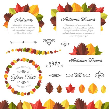 Collection of vector autumn leaves and design elements.