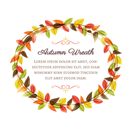 Vector autumn wreath with copy space in the centre. Çizim