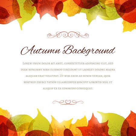Background with autumn leaves and ornaments. Copy space in the middle. File format is EPS10. Çizim
