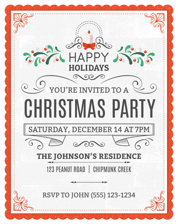 retro christmas: christmas party invitation. Dummy text is on a separate layer for easy removal. Only solid fills used. Illustration