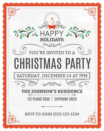 invitacion fiesta: invitación de la fiesta de Navidad. El texto de relleno está en una capa separada para facilitar la extracción. Solamente los rellenos sólidos utilizados.