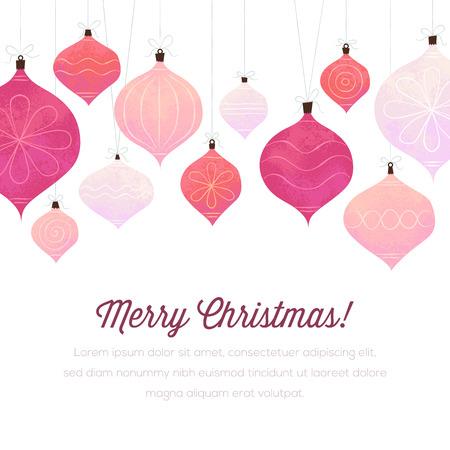 문자열에 크리스마스 장식품 흰색 배경입니다. 만 고체 채우기를 사용합니다. 왼쪽과 오른쪽에있는 두 개의 큰 장식립니다되지 않습니다.