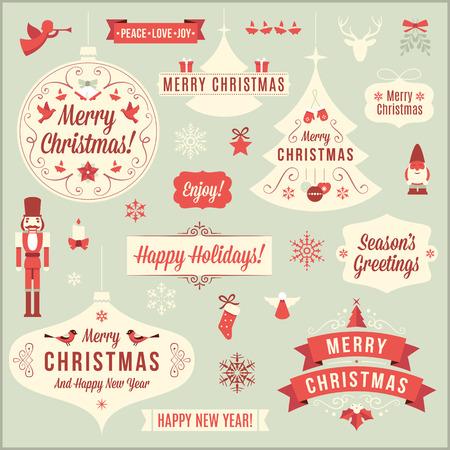 빈티지 크리스마스 디자인 요소의 컬렉션입니다.